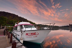 Morning Glow at Sun Moon Lake  (Vincent_Ting) Tags: morning sunset sky lake water clouds sunrise dawn pier taiwan galaxy   crepuscularrays  sunmoonlake                  vincentting