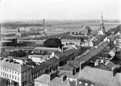 Bird's Eye View, Lurgan, Co. Armagh (National Library of Ireland on The Commons) Tags: chimney spire 20thcentury eason birdseye ulster gasholder glassnegative gasometers lurgan stpeterscatholicchurch countyarmagh nationallibraryofireland labourexchange shakill ricbarracks shankillparishchurch easonson easoncollection josephherbert lurganmodelprimaryschool easonphotographiccollection