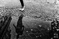 cobblestone reflections (rictango) Tags: street blackandwhite italy rome water reflections