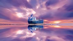 Bateau (Amanclos) Tags: sky reflection colors clouds violet cargo reflet ciel bateau