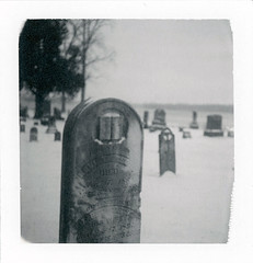 Dailey, MI (moominsean) Tags: snow graveyard polaroid midwest michigan cemetary instant 190 dailey cassopolis type87 unionchurch expired052008