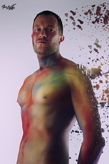 Jef Paint (tim_asato) Tags: pink blue gay red orange man hot color sexy male men guy verde green stain jock pecs yellow sex azul beard rojo model muscle retrato handsome rosa hunk colores modelo amarillo trail trunk chico guapo abs hombre barba portriat beardedmen masculino musculo manchas naraja marytorres timasato jeffagnard