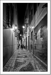 Calle Fresca ByN - Mlaga (Lourdes S.C.) Tags: espaa noche andaluca arquitectura personas nocturna perspectiva farolas calles mlaga luzartificial provinciademlaga sueloempedrado callesconencanto callefresca callesdeandaluca sueloartstico