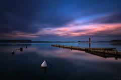 End Year Sunset (Tony N.) Tags: sky bw lake water clouds reflections pier eau europe belgium belgique floating lac ciel nuages reflets ponton vanguard hainaut boue d810 eaudheure nd110 froidchapelle tonyn lacdeleaudheure nikkor1635f4 tonynunkovics