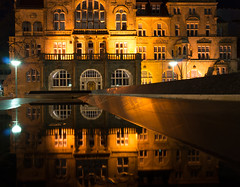 Reflections (BielePix) Tags: camera light building slr germany deutschland licht reflex long exposure shadows outdoor sony low haus architektur nightscene dslr schatten gebude bielefeld slt 58 spiegelreflex spiegelreflexkamera sonyalpha citybielefeld