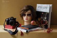 Author's Self-Projection (Esther Spektor - Thanks for 10+ millions views..) Tags: camera stilllife selfportrait apple sunglasses composition canon book berry wine box availablelight picture stilleben fantasy title tabletop bookmark bodegon naturemorte goblet naturamorta naturezamorta creativephotography artisticphoto selfprojection headmodel estherspektor