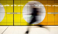 in the circle (Mette1977) Tags: street people urban bw orange colour yellow circle underground subway candid hamburg streetphotography olympus ubahn sbahn jungfernstieg 2016 microfourthird