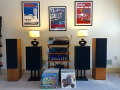 Vintage Stereo Setup (Taylor Player) Tags: records art ads print poster vinyl amp technics albums porsche yamaha amplifier audio pioneer receiver speakers sansui jbl stevemcqueen 917 kenwood blackface turnable marantz yardbirds audiophile preamp 2325 silverface slm3 nicolashunziker 4410a l1290