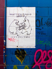 Rotten Radio Lyttelton (Steve Taylor (Photography)) Tags: bear pink blue newzealand white streetart black green art yellow wall paper poster graffiti no tag teeth 4 pipe vivid canterbury nz mauve southisland polar microwave bankspeninsula 1077 lyttelton conduit claws