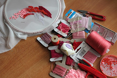 Pink! (ok-blagova) Tags: pink thread beads embroidery chiffon scissors stitches process needles sequins spool bobbins