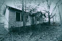 Abandoned House (dorameulman) Tags: blackandwhite abandoned monochrome landscape poem abandonedhouse ghosts oldcar derelict oldbuilding dereliction originalpoem dorameulman