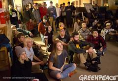 Watching the Democratic Debate (Greenpeace USA 2015) Tags: usa democracy durham newhampshire vote republican democrat keepitintheground