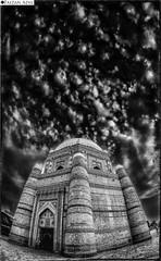 Shah Rukn Alam (Faizan Adil.) Tags: travel pakistan red white black monochrome architecture clouds canon landscape photography rebel flickr fort fisheye punjab 8mm shah alam adil t3i multan faizan mizar rukan mentorasifzaidi