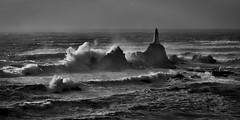 Wave break BW (pa.herbert) Tags: sea blackandwhite lighthouse waves jersey channelislands corbiere
