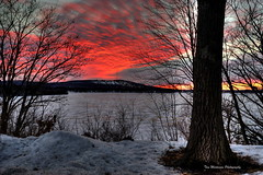 Across the Lake (Tom Mortenson) Tags: winter sunset usa lake wisconsin backlight clouds digital america canon landscape geotagged midwest wintersunset sundown northamerica redsky pinksky canoneos wausau 1740l ribmountain wausauwisconsin centralwisconsin lakewausau canon6d ribmountainstatepark northernus granitepeakskihill