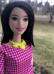 Tall-30 White and Pink Pizazz (Foxy Belle) Tags: pink brown white yellow 30 hair toy necklace eyes doll long barbie skirt pale tall fashionistas pizazz 2016