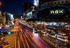 Siam - City of Light (TigerPal) Tags: street city longexposure blur night thailand movement darkness traffic availablelight bangkok centre thai mbk lighttrails siam lightstream maboonkrung
