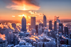 Glacial/Ice cold/Det var kallt (Elf-8) Tags: city morning winter sky cloud cold skyline dawn montreal fume