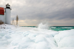 Bone Breaker, Point Betsie Light (Aaron Springer) Tags: winter lighthouse ice nature landscape waves outdoor michigan lakemichigan february pointbetsie northernmichigan thegreatlakes pointbetsielighthouse
