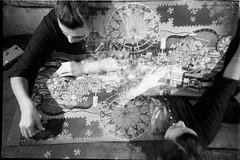 Puzzle MX (BigClownshoes) Tags: blackandwhite lca d76 multipleexposure puzzle 35mmfilm expired kodakplusx