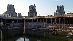 Four gopurams of the Meenakshi temple, Madurai (mountaintrekker2001) Tags: india hindu watertank madurai meenakshitemple gopurams