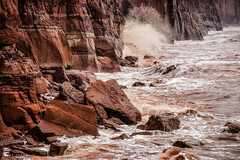Where the land colours the sea (Andy Hough Photography) Tags: sea england brown sandstone rocks waves unitedkingdom sony cliffs gb geology seafront sidmouth sediments mudstone a99 sonyalpha andyhough penningtonpoint slta99v andyhoughphotography