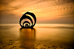Autumn Sunset at Mary's Shell Cleveleys, England (justinclayton99) Tags: longexposure autumn sunset sea england sculpture orange cloud art fall beach yellow gold fuji north shell prom promenade nd marys gb fujifilm serene publicart cleveleys xt1