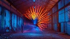 Size does matter (palateth) Tags: blue portrait orange lightpainting flower night industrial belgium belgique belgie urbanexploration urbex lightart zoompull