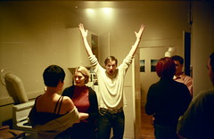 throw your hands in the air / like you just don't care (troutfactory) Tags: friends party film crazy lomography funny lomolca sanfranciscobayarea analogue kodakmax400 offthewall funnyexpression handsintheair