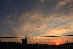 Modersohnbrcke | Modersohnbridge (Thoshi_SM) Tags: blue sunset red sky orange berlin rot bike yellow clouds fence germany deutschland sonnenuntergang view himmel wolken trains cranes gelb rails fernsehturm aussicht sbahn zaun friedrichshain fahrrad tvtower skyview wolkig zge schienen krne modersohnbruecke modersohnbrcke fernsehturmberlin cloudly sunsetporn berlinfriedrichshain skyporn tvtowerberlin sbahnberlin sunsetlove sunsetlovers viewporn sunporn modernsohnbridge
