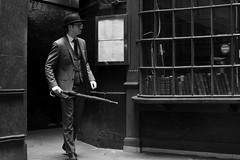2016-03-05: Simpsons Tavern (psyxjaw) Tags: city man london hat umbrella quiet weekend walk empty saturday tie suit bowlerhat worker recreation past reenactment cityoflondon londonist