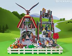 Old Mill House Ferris Wheel Ride (ride 1 of 6) (Bricksky) Tags: park old house mill animals wheel amusement ride lego ferris moc bricksky
