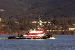 Trudging Along (nywheels) Tags: trees mountains water buildings river boat tugboat hudsonriver tug newburg hudsonvalley newburgnewyork