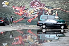 wall art, parking lot, Civic Center, (David McSpadden) Tags: sanfrancisco graffiti weird mural wallart lord civiccenter the nychos