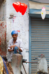Balloon Seller (BDphoto1) Tags: people india man color vertical balloons one colorful heart indian traditional streetphotography naturallight photograph vendor ethnic selling cultural newdelhi