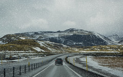 Icelandic Road Trip (Michelle Tuttle) Tags: winter snow mountains cold ice car weather speed landscape drive iceland movement driving view wind filter journey cpl icelandic cplfilter