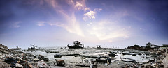 Panorama (leonlee28) Tags: blue light sunset red sea sky panorama orange cloud sun white abstract color nature water clouds landscape photography boat scenery flickr pano panoramas bluesky dirty rubbish lowtide seashore abandonboat leonlee28 leonlee