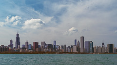 Chicago skyline (Josh Joyce) Tags: lake chicago hancockbuilding skyline clouds midwest lakemichigan grantpark metropolis chicagoloop willistower