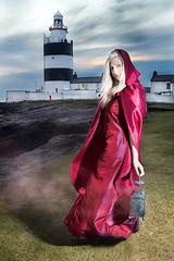 Irish Widdow (BarryKelly) Tags: ireland light red sky woman house lady model dress smoke silk prom blonde lantern hook satin wexford widdow strobist