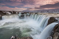 'Waterfall Of The Gods' - Godafoss, Iceland (Kristofer Williams) Tags: longexposure sunset snow ice water landscape waterfall iceland glacial godafoss neiceland skjlfandafljt