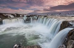 'Waterfall Of The Gods' - Godafoss, Iceland (Kristofer Williams) Tags: longexposure sunset snow ice water landscape waterfall iceland glacial godafoss neiceland skjlfandafljt