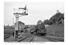 Swanage. 76058 arriving with a train from Wareham. 12.9.61 (Roger Joanes) Tags: greatbritain england blackwhite railways swanage