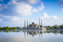 Crystal mosque (Patrick Foto ;)) Tags: city morning sky building tourism monument architecture river landscape asian religious temple gold dawn evening scenery worship shrine asia day symbol god crystal cloudy minaret muslim islam faith prayer religion pray eid culture peaceful places landmark palace mosque arabic architect malaysia dome saudi arabia oriental spiritual ramadhan malay attraction terengganu islamic kualaterengganu my