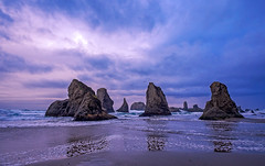 Pacific Ocean, Pinnacle Rock, and Sunset Sky.jpg (Eye of G Photography) Tags: sunset usa beach oregon reflections surf waves places pacificocean northamerica bandon rockformations sunsetsunrise skyclouds