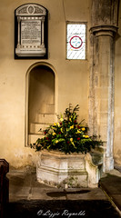Day 95, 2016, a photo a day. (lizzieisdizzy) Tags: flowers windows cold building church urn stone spiral religious stair floor spirit chapel haunted stairway spooky holy font rememberance column script leaded pulpit howiemarsh