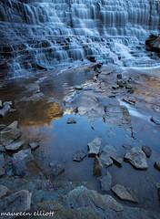 Early Morning Reflections (maureen.elliott) Tags: nature water reflections outdoors waterfall hamilton waterflow niagaraescarpment earlymorninglight