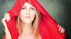 Beauty in red (Tommy Hyland) Tags: red portrait woman green beautiful beauty face female studio person one model eyes holding veil feminine indoor lips human cover covered caucasian coveredbeauty
