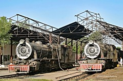 Real Steam in Pakistan in the 21st Century. The metre gauge shed at the lines HQ, Mirpur Khas, On the left, YD 519 2-8-2 (Vulcan Foundry/1929), and on the right, YD 522 2-8-2 (Bombay, Baroda and Central India Railway/1932). (wrecksandrelics) Tags: stuart steam kerr steamlocomotive mirpurkhas 282 vulcanfoundry metregauge ydclass steaminpakistan