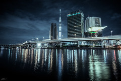 Sumida River (ScottSimPhotography) Tags: road city travel building water beer japan skyline architecture night buildings reflections asian japanese lights tokyo asia neon cityscape view nightscape bladerunner asahi sony scifi asakusa drama sumida sumidariver skytree a6000