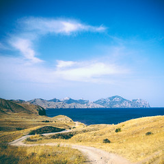 (andrey_kireev) Tags: blue sea summer sky mountains yellow square landscape e squareformat ravine crimea weald vsco carlzeissdistagon28mmf2 distagont228